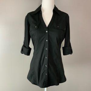 Express Essential Stretch button up black shirt